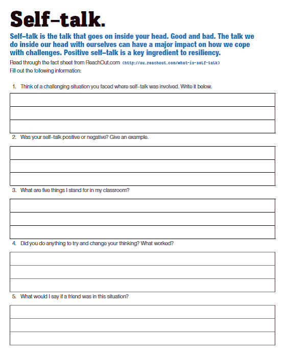 more about self talk before completing this activity complete self ...